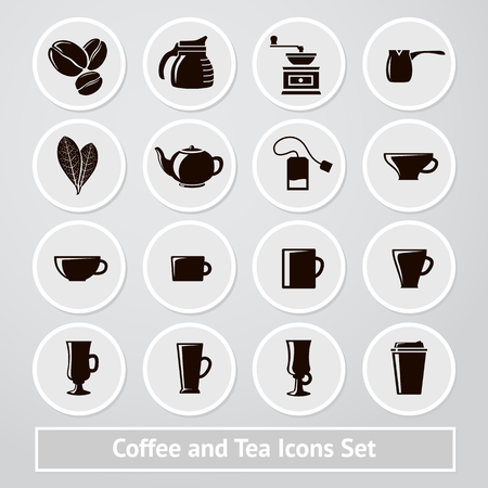 receipts: Set of coffee and tea icons, for shops and cafe, infographics, instructions, receipts, packages etc.