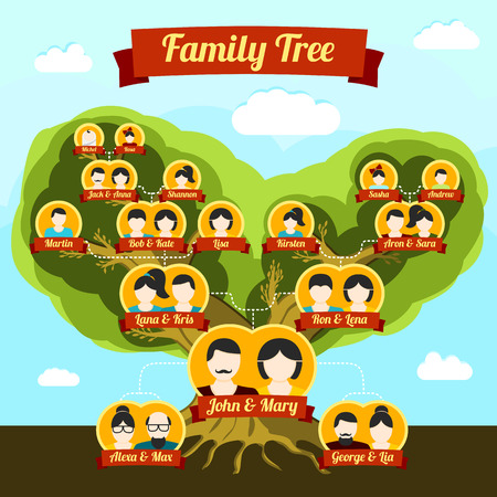 Family tree with places for your pictures and names. Vector illustration. Stock Photo
