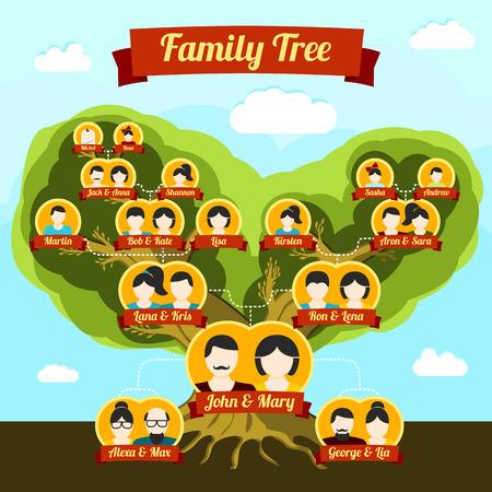arbol genealógico: Árbol genealógico con los lugares para sus imágenes y nombres. Ilustración vectorial