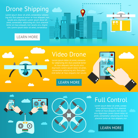 city surveillance: Set of drone banners - shipping, surveillance, control. Vector illustration
