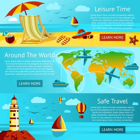voyage: Ensemble de voyage et de loisirs d'été bannières - Sunny Beach avec une chaise, Planisphère Voyage, Voyage concept de Safe. Vector. Illustration