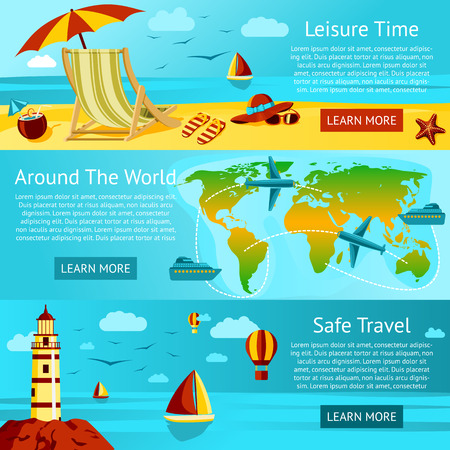 travel background: Set of summer travel and leisure banners - Sunny beach with chair, World Travel Map, Safe travel concept. Vector. Illustration