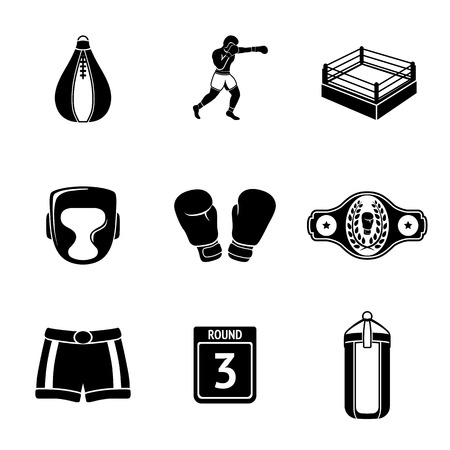 Set of boxing icons - gloves and shorts, helmet, round card, boxer, ring, belt, punch bags. Vector illustration Stock Illustratie