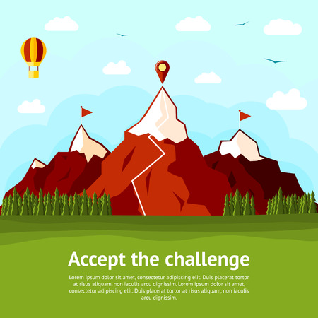 escalando: Acepte la tarjeta concepto desafío con altas montañas, dos explorado y una inexplorada. Ilustración vectorial