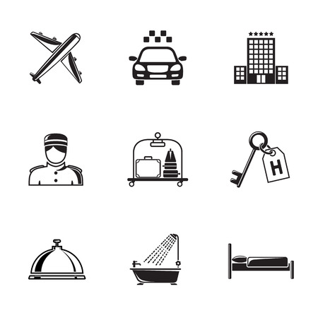 shower room: Hotel and service monochrome black icons set with - hotel building, service bell, bed, luggage, porter, room key, taxi cab, airplane, bathroom with shower. Vector