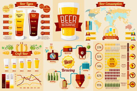Set of Beer Infographic elements with icons, different charts, rates etc. Beer types, craft beer, beer consumption, beer brewing process etc. Vector illustration Vettoriali