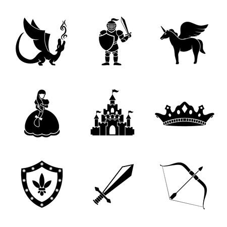 モノクロのおとぎ話、剣、弓、盾と騎士、ドラゴン、王女、クラウン、ユニコーン、城とゲームのアイコンのセットです。ベクトル図