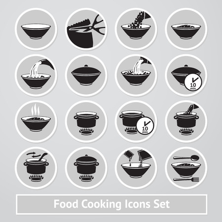 receipts: Set of cooking icons, for instructions and receipts, packages etc. Illustration