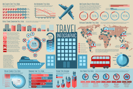Set of Travel Infographic elements with icons, different charts, rates etc. Vector illustration