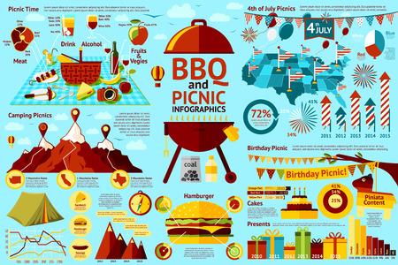 Set aus Grill und Picknick-Infografiken - Picknick-Essen, 4. Juli Picknick Geburtstag Picknick, Camping Picknicks, hamburger Gehalt. Vektor-Illustration Standard-Bild - 43462119