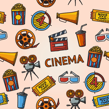 cinema screen: Seamless cinema handdrawn pattern with - cinema projector, film strip, 3D glasses, clapboard, popcorn in a striped tub, cinema ticket, glass of drink. Illustration