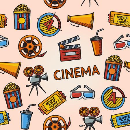 Seamless cinema handdrawn pattern with - cinema projector, film strip, 3D glasses, clapboard, popcorn in a striped tub, cinema ticket, glass of drink. Ilustração