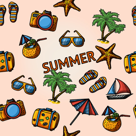 summer beach: Seamless summer handdrawn pattern with - coconut cocktail, fish star and slippers, palms, suitcase,beach umbrella, yacht, sun glasses, photo camera. Vector