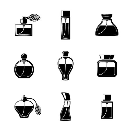 Perfume icons set with different shapes of bottles. vector illustration Stock Illustratie