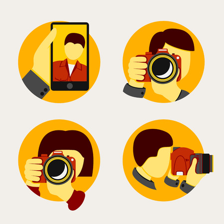 icon man: Set of modern style photographer icons. Vector illustration