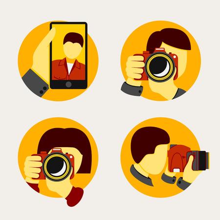 Set van moderne stijl fotograaf iconen. Vector illustratie