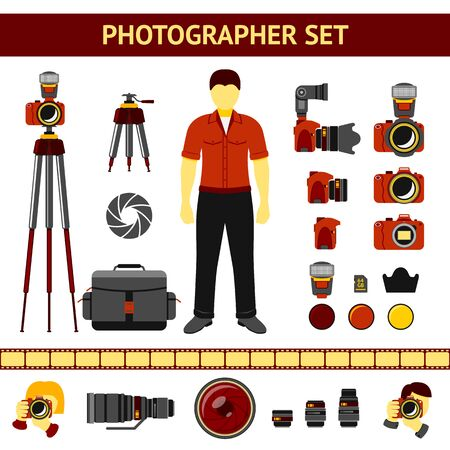 tripods: Set of Photographer icons - cameras and tripod, lenses, filters, photographer silhouettes. Vector illustration