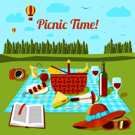 Picknick tijd poster met verschillende eten en drinken op het doek, met uitzicht op het platteland. Vector illustratie