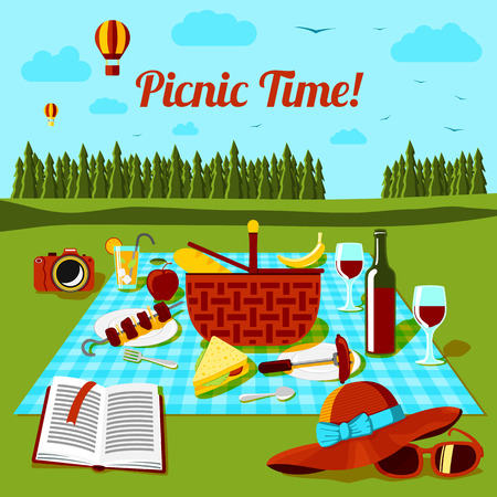 retro sunrise: Picnic time poster with different food and drink on the cloth, with countryside view. Vector illustration