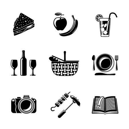 symbol icon: Set of monochrome picnic icons - basket, plate with spoon, sandwich, photo camera, wine, glass with cocktail, apple and banana, BBQ, book. Vector illustration Illustration