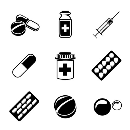 pill box: Medicine, drugs monochrome icons set with - pills box and tablets, pill, blister, vitamins, syringe, liquid medicine. Vector