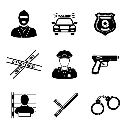 Set of monochrome police icons - gun, car, crime scene tape, badge, police men, thief, thief in jail, handcuffs, police club. Vector illustration