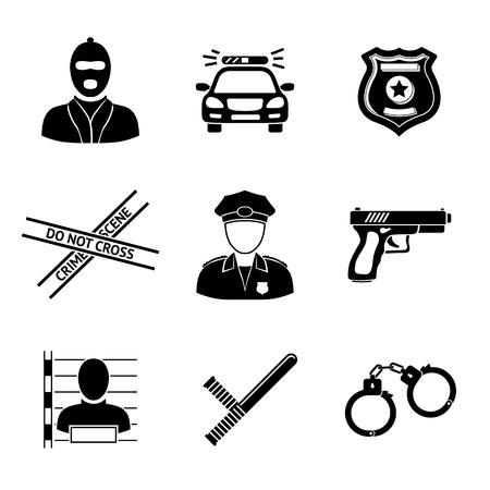 escena del crimen: Conjunto de iconos monocromáticos de policía - arma, coche, cinta de la escena del crimen, la insignia, los hombres de la policía, ladrón, ladrón de cárcel, las esposas, club de la policía. Ilustración vectorial