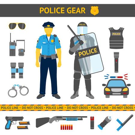 uniformes: Conjunto de iconos de la Policía - engranajes, coches, armas y dos policías de uniforme diario y antidisturbios. Ilustración vectorial