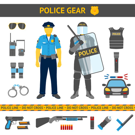 Set of Police icons - gear, car, weapons and two policemen in daily uniform and in riot gear. Vector illustration