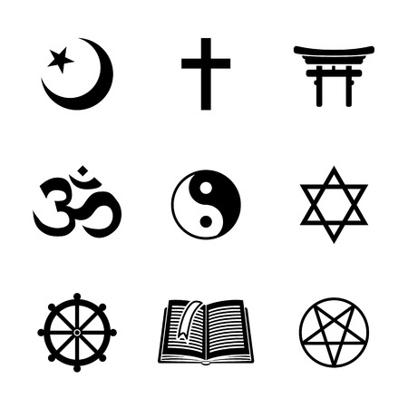 the religion: World religion symbols set with - christian, Jewish, Islam, Buddhism, Hinduism, Taoism, Shinto, pentagram, and book as symbol of doctrine. Vector illustration