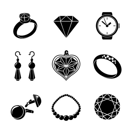 cuff: Jewelry monochrome icons set with - rings and diamonds, watch, earings, pendant, cuff links, necklace. Vector illustration