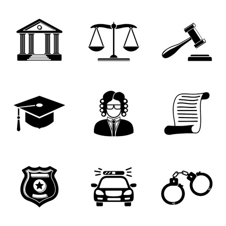 Law, justice monochrome icons set with - scales and hammer, court house, judge, police badge, handcuffs, lawyer cap, police car, sentence document. Vector Ilustração