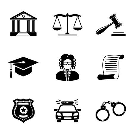 Recht, Gerechtigkeit monochrome Icons mit Set - Scales und Hammer, Gerichtsgebäude, Richter, Polizeiabzeichen, Handschellen, Anwalt Kappe, Polizeiauto, Satzdokument. Vektor