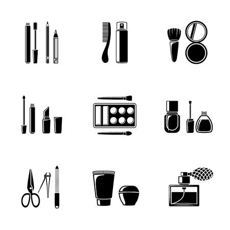 nail: Set of monocrome makeup icons - mascara and polish, powders, lipsticks, perfume, lotions, comb, nail clipper. Vector illustration Illustration