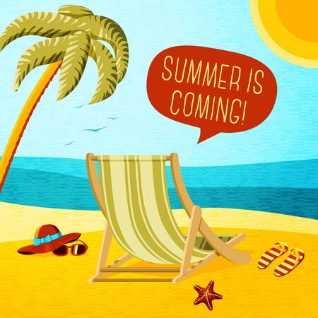 vector chair: Cute summer poster - beach chair, palm, hat and sunglasses with speech bubble for your text. Vector illustration
