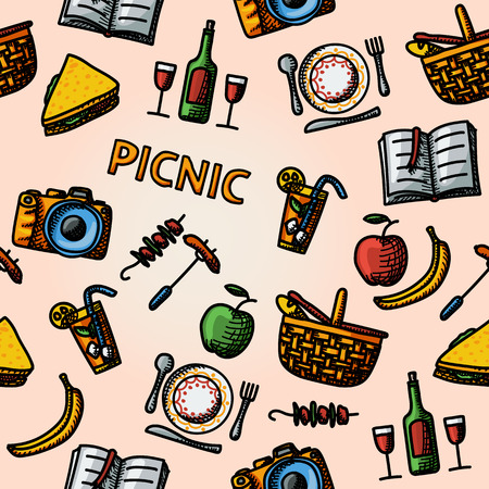 plate camera: Color hand drawn picnic pattern - basket, plate with spoon, sandwich, photo camera, wine, glass with cocktail, apple and banana, BBQ, book. Vector illustration