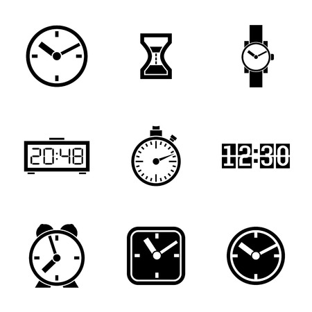 Set of vector icons of time, clocks, watches. Vector