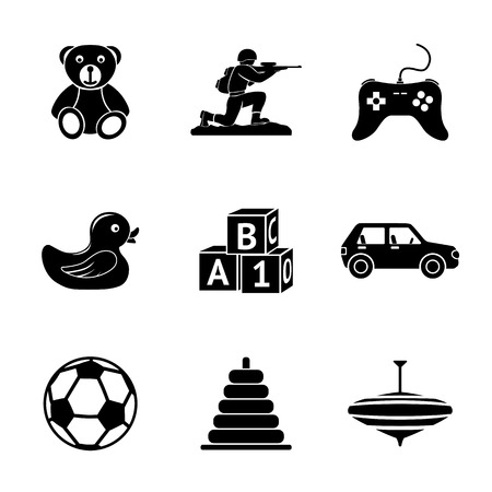 toy soldier: Toys icons set with - car and duck, bear and pyramid, ball, game controller, blocks, whirligig, soldier. Vector illustration Illustration