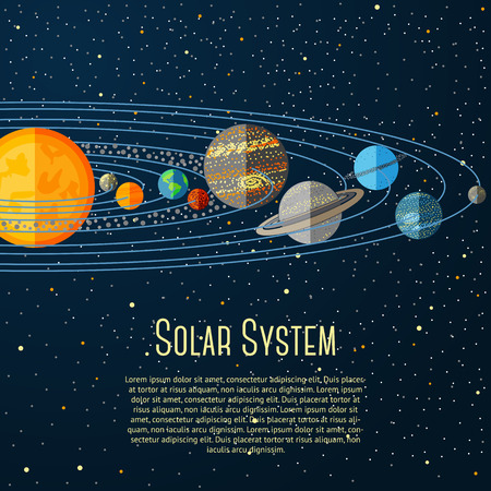 planets: Solar system banner with sun, planets, stars. Vector illustration