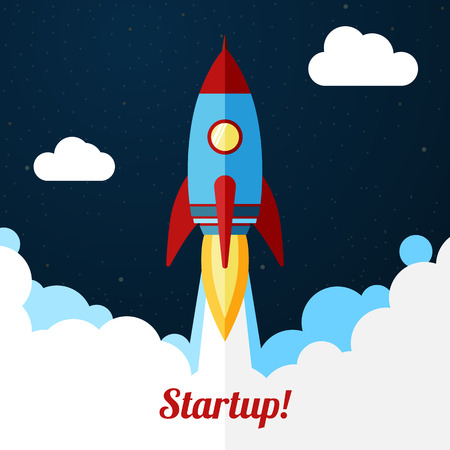 cartoon rocket: Space rocket launch. Concept for startup or release etc.
