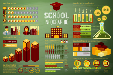 university text: Set of School Infographic elements with icons, different charts, rates etc. With places for your text. Vector illustration Illustration