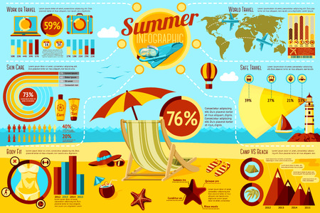 Set of Summer and Travel Infographic elements with icons, different charts, rates etc. Vector illustration Çizim