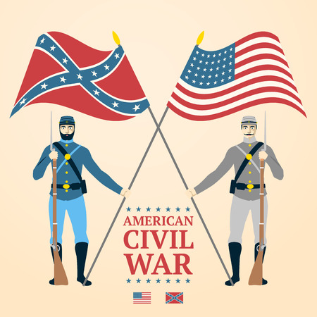 American Civil War illustration - southern and northern soldiers in uniform, holding flags and rifles. vector