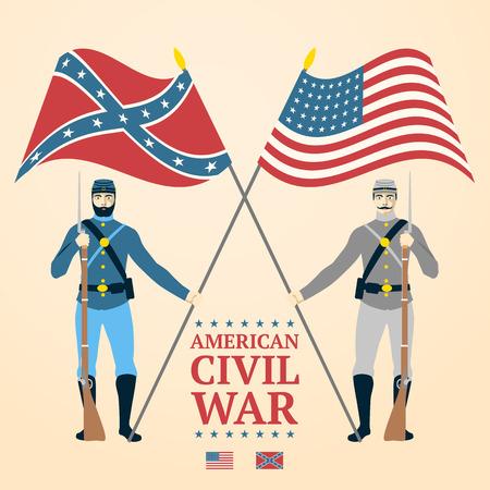 soldado: Ilustración americana de la guerra civil - soldados del sur y del norte de uniforme, con banderas y rifles. vector Vectores