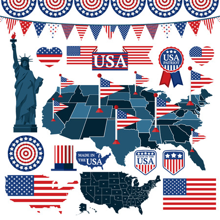 patriotic: Set of USA symbols, flags, and maps with states. Vector illustration