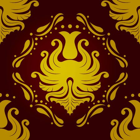 baroque wallpaper: Seamless retro vintage victorial baroque wallpaper in red and golden colors. vector illustration