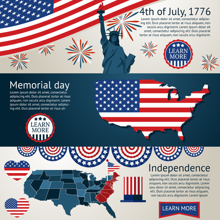 patriotic background: Set of 4th of July banners. Vector illustration