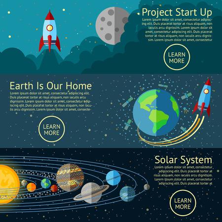 infografica: Serie di striscioni di spazio concetti - Rocket start up, Terra dallo spazio, il sistema solare. Illustrazione vettoriale
