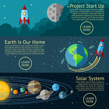 Set of Space banners concepts - Rocket start up, Earth from Space, Solar system. Vector illustration