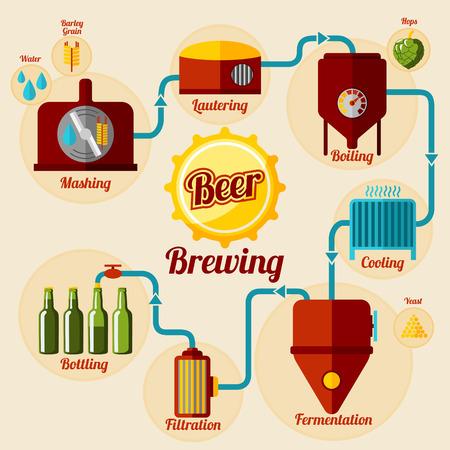 proceso: Cerveza infografía proceso de elaboración de la cerveza. En estilo plano. Ilustración vectorial